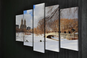 New York Manhattan Central Park panorama winter 5 Split Panel Canvas  - Canvas Art Rocks - 2