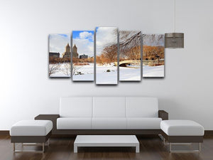 New York Manhattan Central Park panorama winter 5 Split Panel Canvas  - Canvas Art Rocks - 3