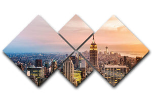 New York skyline skyscrapers at sunset 4 Square Multi Panel Canvas  - Canvas Art Rocks - 1