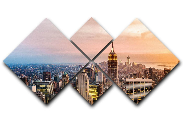 New York skyline skyscrapers at sunset 4 Square Multi Panel Canvas