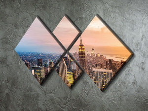 New York skyline skyscrapers at sunset 4 Square Multi Panel Canvas  - Canvas Art Rocks - 2