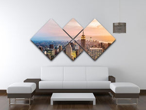 New York skyline skyscrapers at sunset 4 Square Multi Panel Canvas  - Canvas Art Rocks - 3