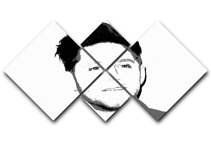 Niall Horan of One Direction Black and White Pop Art 4 Square Multi Panel Canvas