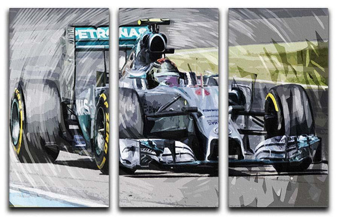 Nico Rosberg Formula 1 3 Split Panel Canvas Print