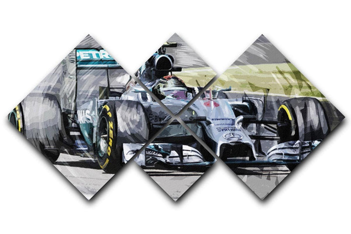 Nico Rosberg Formula 1 4 Square Multi Panel Canvas