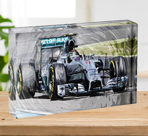Nico Rosberg Formula 1 Acrylic Block - Canvas Art Rocks - 2