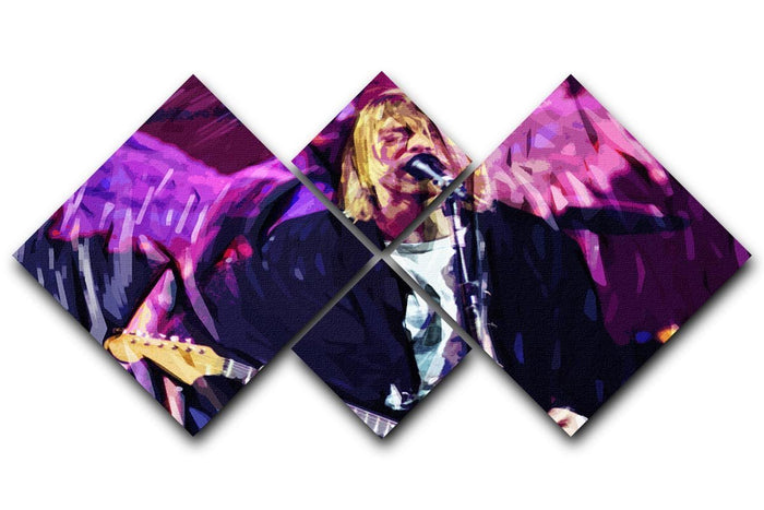 Nirvana Kurt Cobain 4 Square Multi Panel Canvas