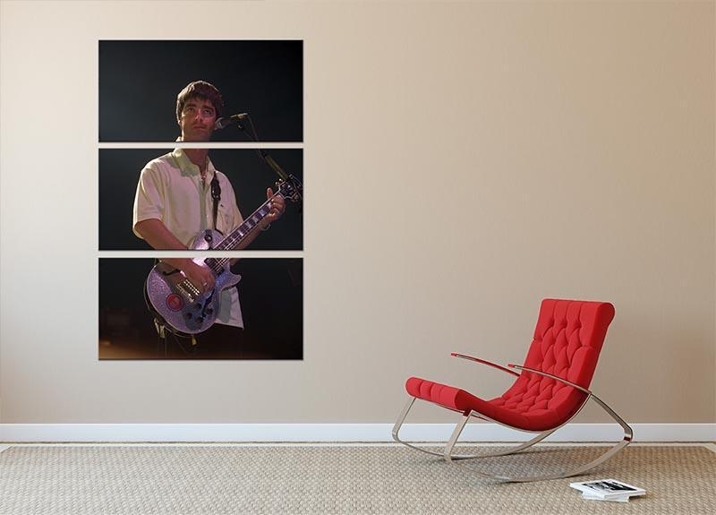 Noel Gallager of Oasis playing guitar 3 Split Panel Canvas Print - Canvas Art Rocks - 2