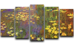 Nympheas water plantes by Monet 5 Split Panel Canvas  - Canvas Art Rocks - 1