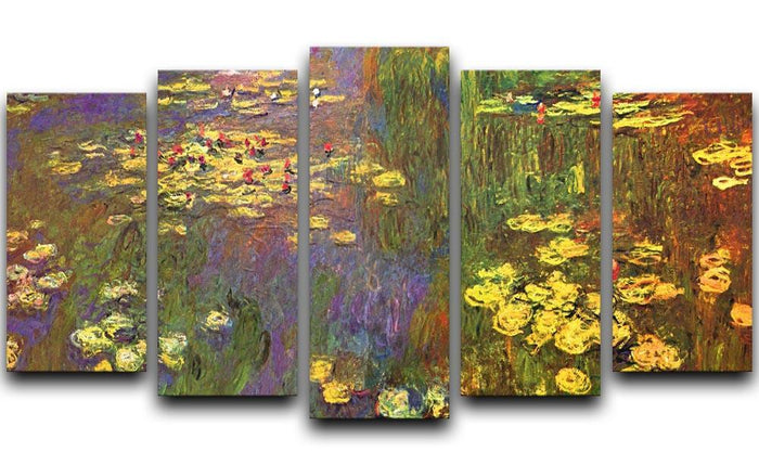 Nympheas water plantes by Monet 5 Split Panel Canvas