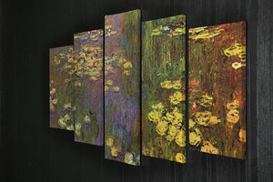 Nympheas water plantes by Monet 5 Split Panel Canvas - Canvas Art Rocks - 2