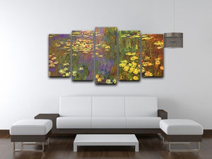 Nympheas water plantes by Monet 5 Split Panel Canvas - Canvas Art Rocks - 3