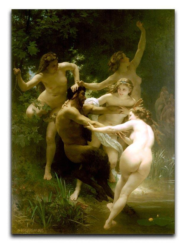 Nymphs and Satyr By Bouguereau Canvas Print or Poster  - Canvas Art Rocks - 1