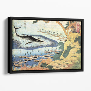 Ocean landscape and whale by Hokusai Floating Framed Canvas
