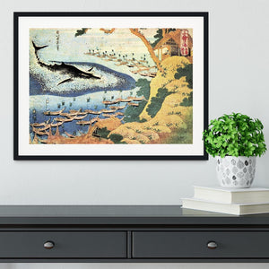 Ocean landscape and whale by Hokusai Framed Print - Canvas Art Rocks - 1