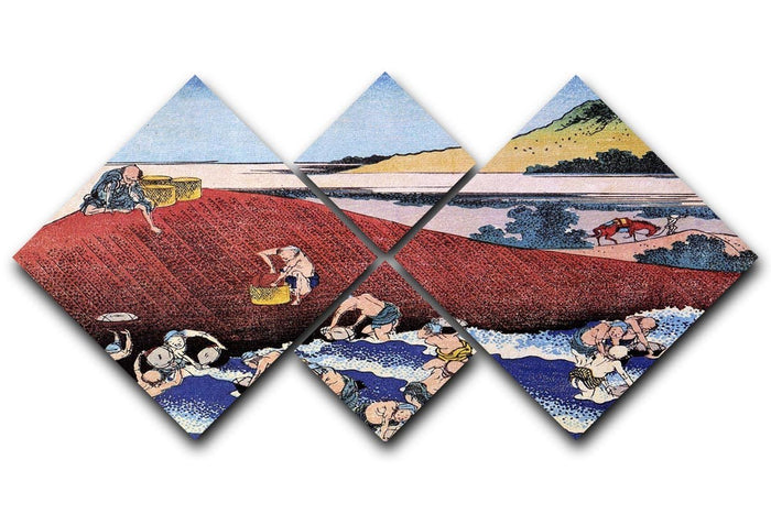 Ocean landscape with fishermen by Hokusai 4 Square Multi Panel Canvas