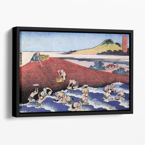 Ocean landscape with fishermen by Hokusai Floating Framed Canvas