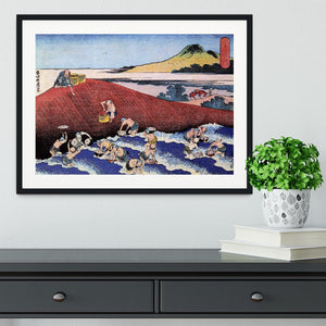 Ocean landscape with fishermen by Hokusai Framed Print - Canvas Art Rocks - 1