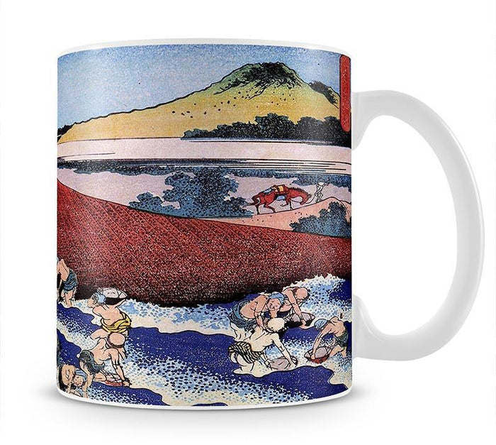 Ocean landscape with fishermen by Hokusai Mug
