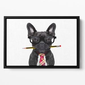 Office businessman french bulldog dog with pen Floating Framed Canvas - Canvas Art Rocks - 2