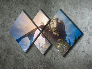Old castle on the hill 4 Square Multi Panel Canvas  - Canvas Art Rocks - 2
