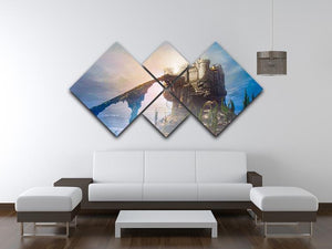 Old castle on the hill 4 Square Multi Panel Canvas  - Canvas Art Rocks - 3