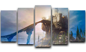 Old castle on the hill 5 Split Panel Canvas  - Canvas Art Rocks - 1