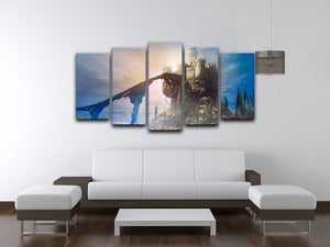 Old castle on the hill 5 Split Panel Canvas  - Canvas Art Rocks - 3