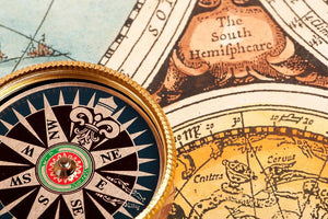 Old compass on vintage retro map Wall Mural Wallpaper - Canvas Art Rocks - 1