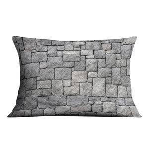 Old gray stone wall Cushion - Canvas Art Rocks - 4