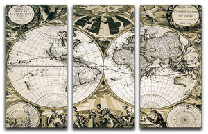 Old paper world map Holland 3 Split Panel Canvas Print - Canvas Art Rocks - 1