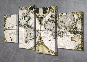 Old paper world map Holland 4 Split Panel Canvas  - Canvas Art Rocks - 2