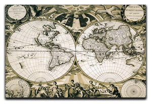 Old paper world map Holland Canvas Print or Poster  - Canvas Art Rocks - 1