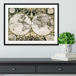 Old paper world map Holland Framed Print - Canvas Art Rocks - 1