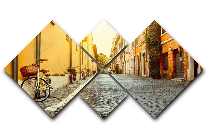 Old street in Rome 4 Square Multi Panel Canvas