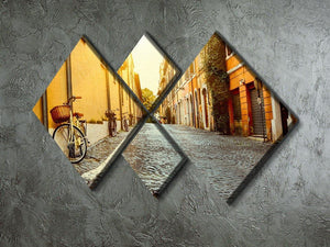 Old street in Rome 4 Square Multi Panel Canvas  - Canvas Art Rocks - 2