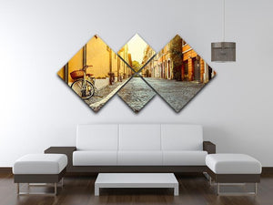Old street in Rome 4 Square Multi Panel Canvas  - Canvas Art Rocks - 3