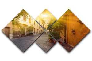 Old street in Trastevere 4 Square Multi Panel Canvas  - Canvas Art Rocks - 1