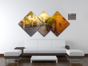 Old street in Trastevere 4 Square Multi Panel Canvas  - Canvas Art Rocks - 3