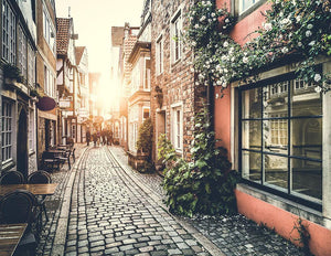 Old town in Europe at sunset Wall Mural Wallpaper - Canvas Art Rocks - 1