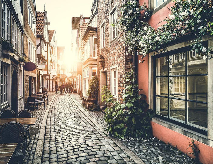 Old town in Europe at sunset Wall Mural Wallpaper