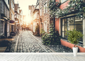 Old town in Europe at sunset Wall Mural Wallpaper - Canvas Art Rocks - 4