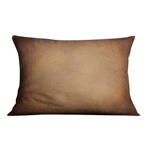 Old vintage brown leather Cushion - Canvas Art Rocks - 4