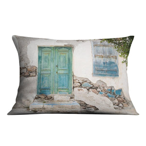 Old wooden door of a shabby demaged house Cushion - Canvas Art Rocks - 4
