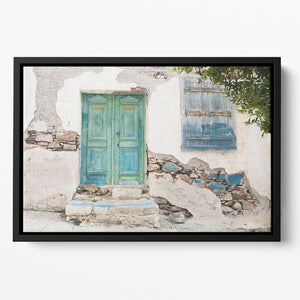 Old wooden door of a shabby demaged house Floating Framed Canvas - Canvas Art Rocks - 2