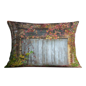 Old wooden door with a brick Cushion - Canvas Art Rocks - 4
