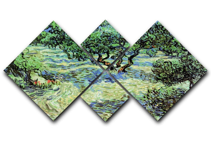 Olive Grove by Van Gogh 4 Square Multi Panel Canvas