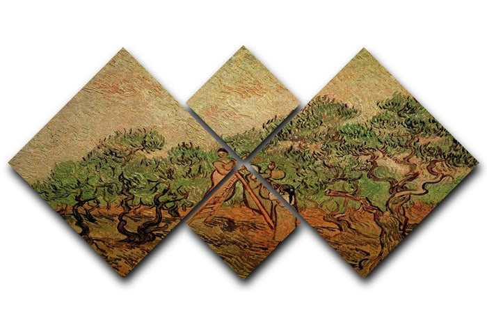 Olive Picking by Van Gogh 4 Square Multi Panel Canvas