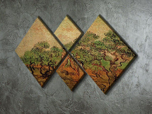 Olive Picking by Van Gogh 4 Square Multi Panel Canvas - Canvas Art Rocks - 2