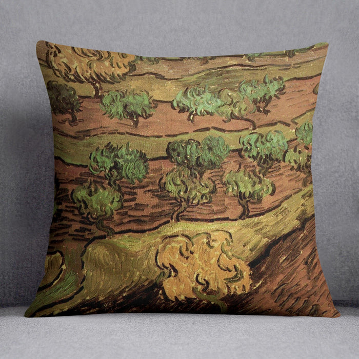 Olive Trees against a Slope of a Hill by Van Gogh Throw Pillow